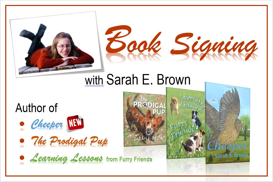 Booksigning at the local library sarah e brown for Book signing poster template